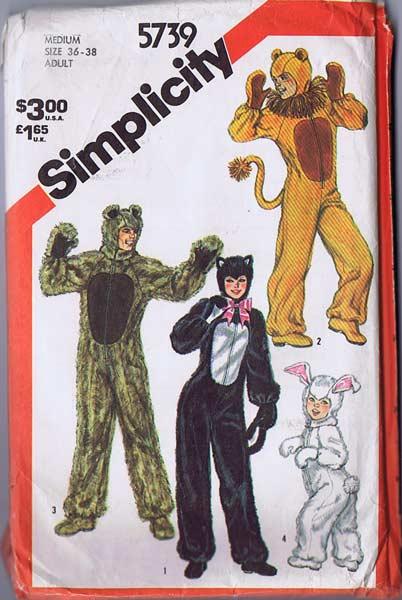 Simplicity #5739 Furry Fun! Adults Animal Halloween Costume Pattern~Size M ...