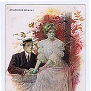 Popping The Question 'An Anxious Moment' Signed R. HILL 1906 Postcard~Edward Stern & Co