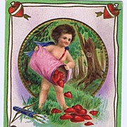 Adorable Hunter 'Dan' Cupid Returning With His Hearts 'My Valentine' E. NASH Embossed Postcard