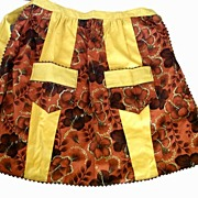 Bold Hawaiian-Style 1960s HIBISCUS Brown & Gold Half Apron~Rick Rack Trim, Double V Contrast .