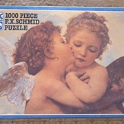 Romantic Vintage SEALED F.X. Schmid 'Cupid's Kiss' Jigsaw Puzzle~1000 Pc., Mint