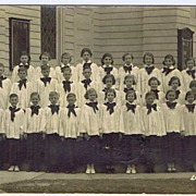 1930s Black & White RPPC Children's Church Choir With Pastor Postcard~AZO Ladd Studio