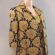 1950s MR. BLACKWELL CUSTOM Couture Wiggle Damask Brocade Sheath Dress & Coat Ensemble