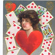 So Romantic 1910 Fortune Valentine Series 'Queen of My Heart' Postcard