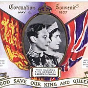May 1937 TUCK OILETTE Coronation Souvenir Postcard No. 5317~King George VI & Queen Elizabeth