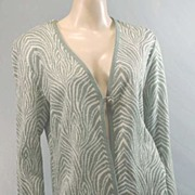 On Trend  '70s Mint Green & White Lurex ZEBRA Stripe Cardigan Sweater