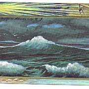 Beautiful 1925 Gilt Embossed 'Breakers At Atlantic City, New Jersey' Postcard~Lighthouse!