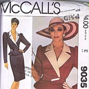 "McCall's #9035 JOAN COLLINS Design Jacket, Belt & Skirt~Size 12/34"" Bust~UNCUT FF, 1984"