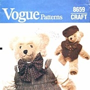 "Vogue #8659 LINDA CARR 23"" BEAR 'Pierre' French Bear Wardrobe~Complete, 1985"