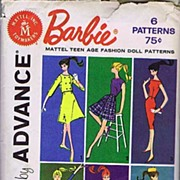 Advance Group B Officially Licensed Mattel BARBIE Fashion Doll Patterns~6 Designs~UNCUT, 1961