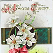 Lovely Beribboned Floral Bouquet & Country Church 'Joyous Easter' 1909 Embossed Postcard~H. ..