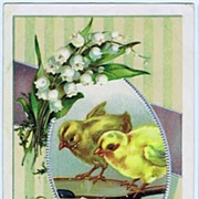Sweetest 1909 'Best Easter Wishes' Embossed Postcard~Fuzzy Yellow Chicks. Pussy Willows & Lily