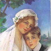 Beautiful 1913 PHILIP BOILEAU Wedding Postcard~'Sister's First Love' With Bride & Little ...