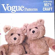 Vogue #9571 Charming Linda Carr BABY BEAR Stuffed Teddy Toy Pattern~UNCUT FF, 1986