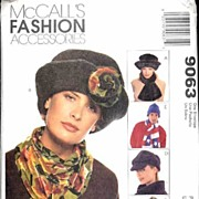 McCall's #9063 Fashionable Hats Scarves Neckwarmer Hood & Dickie Pattern~All Sizes Men & ...