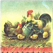 Beautiful 'A Joyful Easter' ROOSTER Hen & Chicks Embossed Postcard~1909
