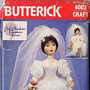 "Butterick #4003 Superb SOF-PORCELAIN Creations 22"" Bride Doll~Soft Cloth Looks Like Porce"