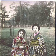 Antique Hand-Painted Lovely Geishas Photographed In The Garden Postcard~Made in Japan,UNUSED,