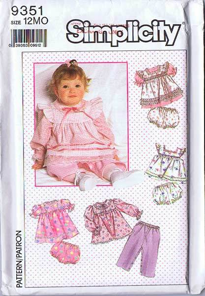 Simplicity #9351 Babies Tops, Apron or Sundress, Pants & Panties~Size 12 Mos.~UNCUT FF, 1989