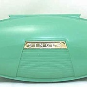 Cased 1960 SINGER Sewing Machine Buttonholer Set With Book~Coupe' Turquoise Plastic!