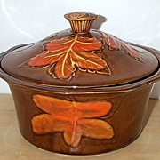 Tasty California Pottery Vintage Autumn Leaf Detail Covered Casserole