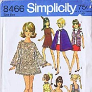 "Simplicity #8466 Swingin' Mod BARBIE 11 1/2"" Fashion Doll Wardrobe~Micro Mini To Cape! UN"