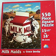 Happy Cows 'MILK MAIDS' Jigsaw Puzzle By Grace Devito~550 Pcs., Sun's Out