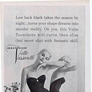 Sexy 1957 HOLLYWOOD VASSARETTE Black Lace Body Shaper Ad~Glamour Magazine