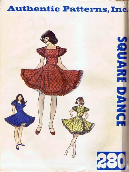 Authentic Western Pattern #280 Ultra Feminine Side Swept Ruffled Square Dance Dress~Size 5-7-9~UNCUT FF
