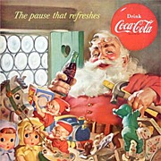 Iconic Haddon Sundblom COCA-COLA Santa Christmas Ad~Elves, Baby Dolls, Teddy Bear + More Toys!