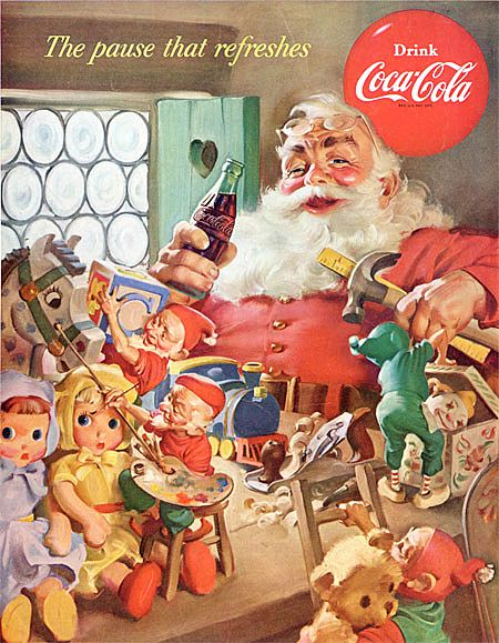 Iconic Haddon Sundblom COCA-COLA Santa Christmas Ad~Elves, Baby Dolls, Teddy Bear + More Toys! BACK COVER National Geographic Magazine Nov. 1953