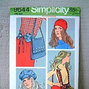 Simplicity #9644 Mad For Mod Belts, Hat, Cap & Shoulder Bag Pattern~Complete, 1971