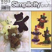 "Simplicity #8363 Huggable 16"" Stuffed BEAR Toys With Accessories~UNCUT, 1987"