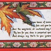 Romantic 1909 AUTUMN LEAVES Poetic Postcard~Sweetheart Series, Arthur Capper