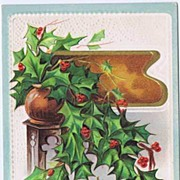 Abundant Holly & Berry Vase 'A Joyous Christmas' Traditional Textured & Embossed Christmas Pos