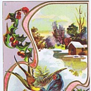 Traditional Florence BAMBERGER 'A Merry Christmas' Embossed Postcard~Bluebirds of Happiness