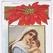 Lovely 1913 Madonna & Child With Poinsettia 'Christmas Greetings' Postcard