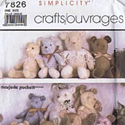 Simplicity #7826 Bundle of Fun Bears~3 Sizes MARJORIE PUCKETT~Uncut FF