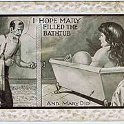 1911 Comic Postcard Large Woman in Bathtub Undivided Back