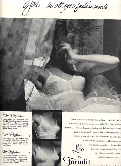 1956 'Life by Formfit' Bra Ad~LHJournal, Full Page Black & White