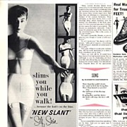 Slim & Sleek SILF SKIN 'New Slant' Girdle Ad~LHJournal, March 1956