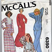 McCall's #6350 Warm & Snuggly Caftan, Night Shirt & Pajamas Pattern-Size Small-UNCUT, 1978