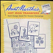 Vintage Aunt Martha's Hot Iron Transfers #3682-Special 'Animal Crib Quilt' W/Circus Animals &