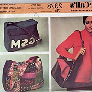 McCall's #2378 Step-By-Step Shoulder BAG Pattern W/ Alphabet Initials Sheet-UNCUT, 1970