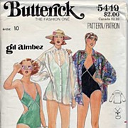 Butterick #5449 Fabulous GIL AIMBEZ Swimsuit & Cover Up Pattern-Size 10-UNCUT, 1981