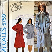 McCall's #5759 'Marlo's Corner' Belted Coat or Carcoat Pattern-Size Small-Complete, 1977