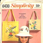 Simplicity #6430 Mod Floppy Hat & Purses W/Rick Rack APPLIQUES! One Size-UNCUT, 1966
