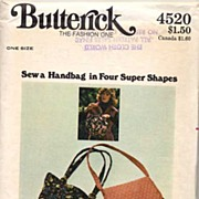 Butterick #4520 Fun HIPPIE Boho-Style Purses Pattern-UNCUT, 1970
