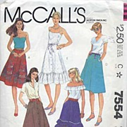 "McCall's #7554 Great Skirt Wardrobe Pattern-5 Views! Size 12/26 1/2"" Waist-Complete, 1981"