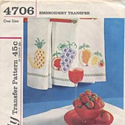 Simplicity #4706 Juicy Fruits EMBROIDERY Designs Pattern-UNCUT, 1959